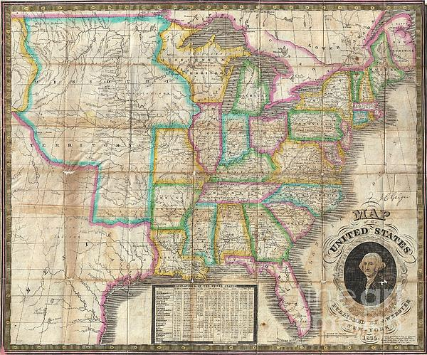 1835 Webster Map Of The United States Print by Paul Fearn
