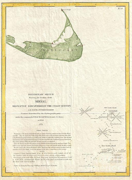 1846 Us Coast Survey Map Of Nantucket  Print by Paul Fearn