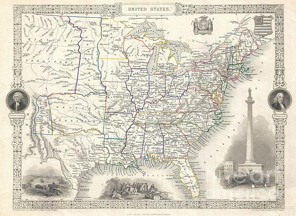1851 Tallis And Rapkin Map Of The United States Print by Paul Fearn