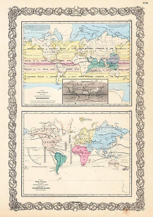 1855 Antique World Maps Illustrating Principal Features Of Meteorology Rain And Principal Plants Print by Karon Melillo DeVega