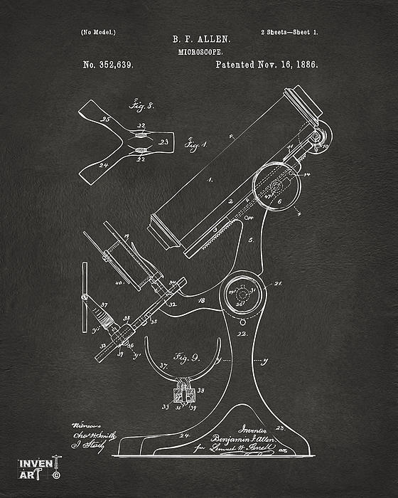 1886 Microscope Patent Artwork - Gray Print by Nikki Marie Smith