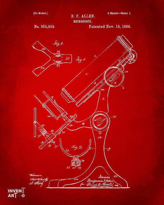 1886 Microscope Patent Artwork - Red Print by Nikki Marie Smith