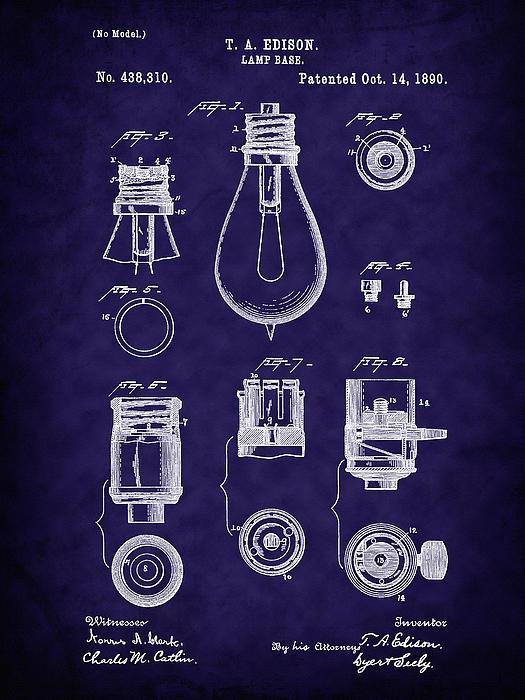 Barry Jones - 1890 Edison Lamp Base Patent Art