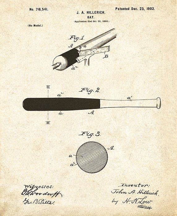1902 Baseball Bat Patent Print by Digital Reproductions