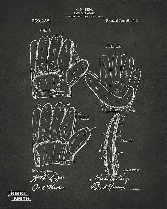 1910 Baseball Glove Patent Artwork - Gray Print by Nikki Marie Smith