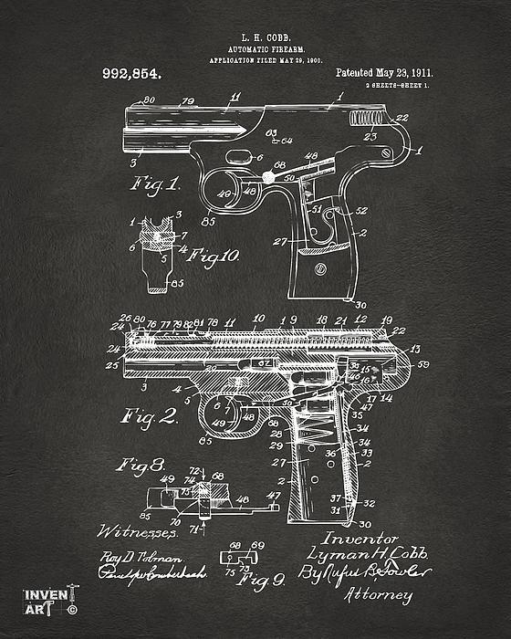 1911 Automatic Firearm Patent Artwork - Gray Print by Nikki Marie Smith