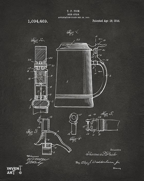 1914 Beer Stein Patent Artwork - Gray Print by Nikki Marie Smith