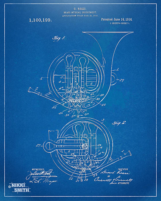 1914 French Horn Patent Blueprint Print by Nikki Marie Smith