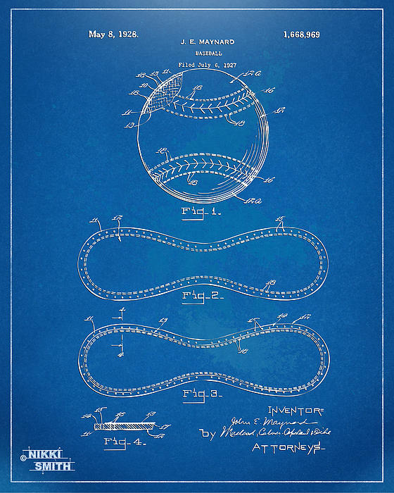 1928 Baseball Patent Artwork - Blueprint Print by Nikki Smith