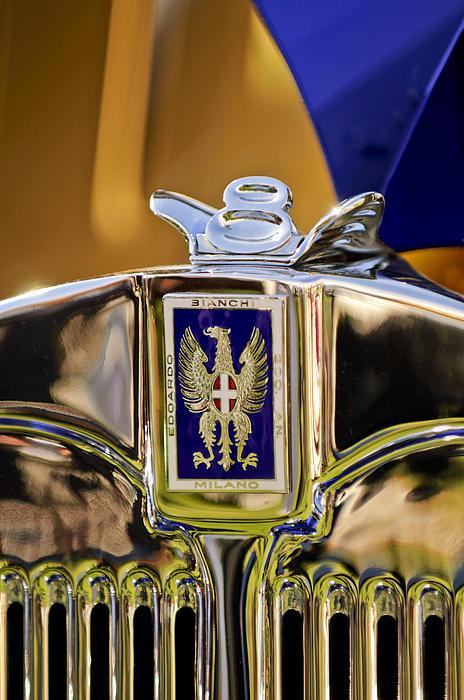 1929 Bianchi S8 Graber Cabriolet Hood Ornament And Emblem Print by Jill Reger
