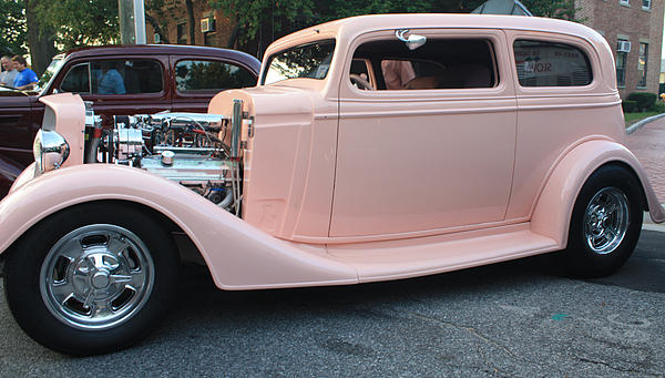 John Telfer - 1934 Chevy Two Door Pink Lady Sedan Side View
