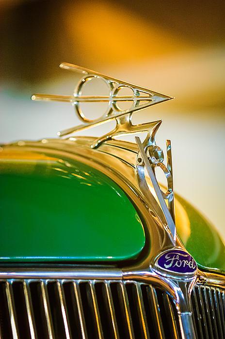 1936 Ford Deluxe Roadster Hood Ornament Print by Jill Reger