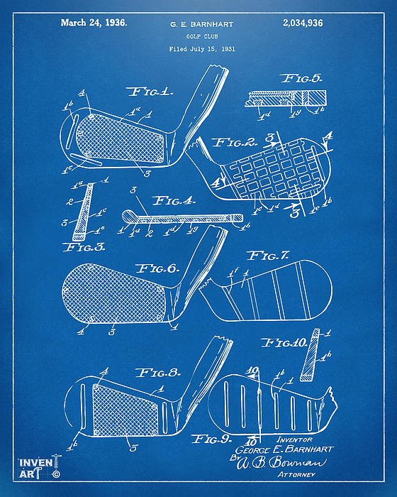 1936 Golf Club Patent Blueprint Print by Nikki Marie Smith