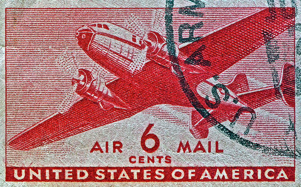 Bill Owen - 1941 - 1944 Six Cents Air Mail Stamp -  U. S. Army Cancelled