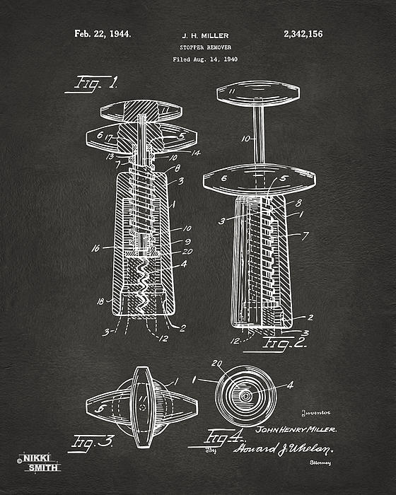 1944 Wine Corkscrew Patent Artwork - Gray Print by Nikki Marie Smith