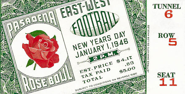 1946 Rose Bowl Ticket - Usc Vs Alabama Print by David Patterson