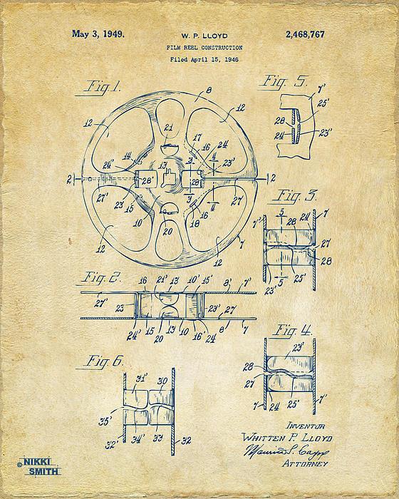 1949 Movie Film Reel Patent Artwork - Vintage Print by Nikki Marie Smith