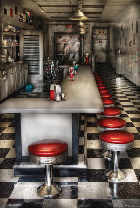 1950's - The Ice Cream Parlor Print by Mike Savad