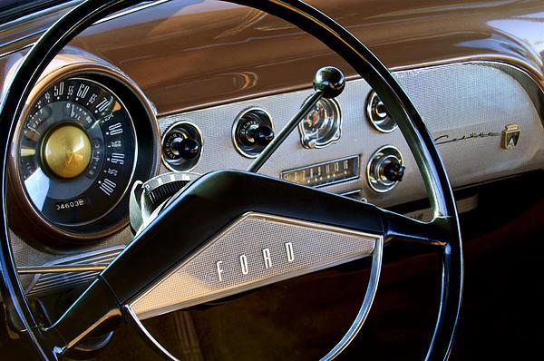 1951 Ford Crestliner Steering Wheel Print by Jill Reger