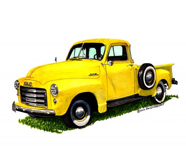 1953 G M C 5-window Pick-up Print by Jack Pumphrey