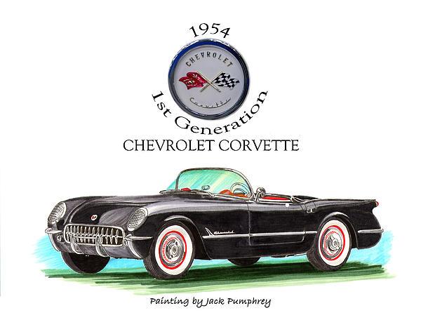 1954 Corvette First Generation Print by Jack Pumphrey