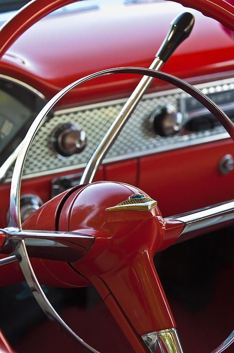 1955 Chevrolet Belair Nomad Steering Wheel Print by Jill Reger
