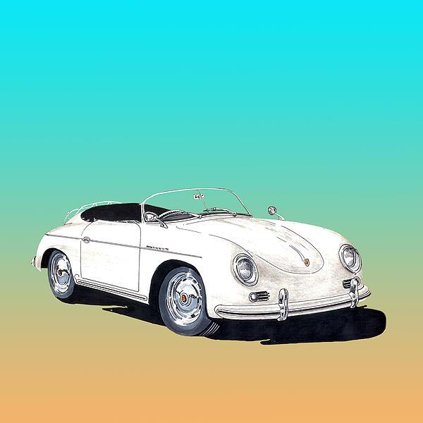 1955 Porsche Speedster Rhd Print by Jack Pumphrey