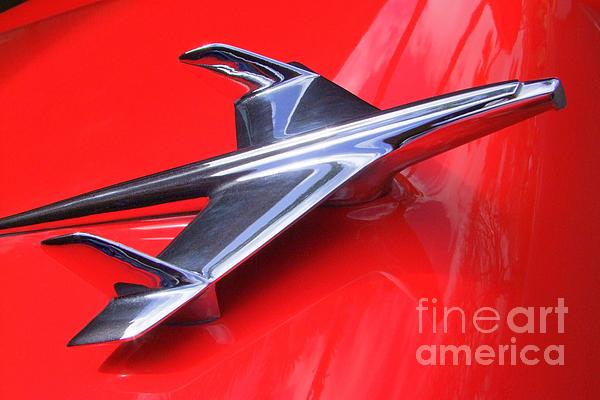 1956 Chevy Hood Ornament Print by Mary Deal
