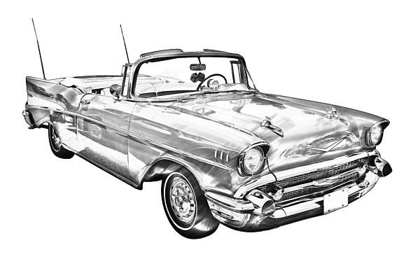 1957 chevrolet bel air convertible illustration by keith webber jr