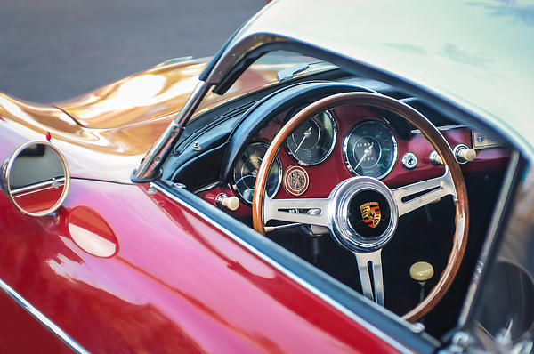 1958 Porsche 356 1600 Super Speedster Steering Wheel Print by Jill Reger
