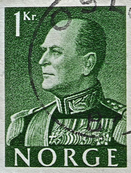 1959 King Olav V Norway Stamp - Oslo Postmark Print by Bill Owen