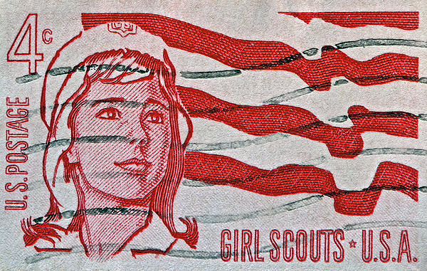 1962 Girl Scouts Stamp Print by Bill Owen