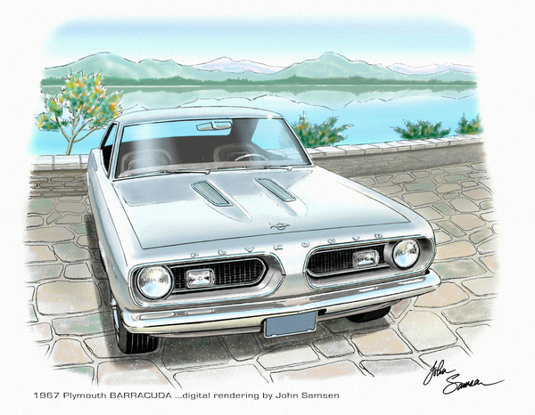 1967 Barracuda  Classic Plymouth Muscle Car Sketch Rendering Print by John Samsen