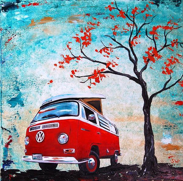 1970 Red Volkswagen Camper Bus Print by Sheri Wiseman