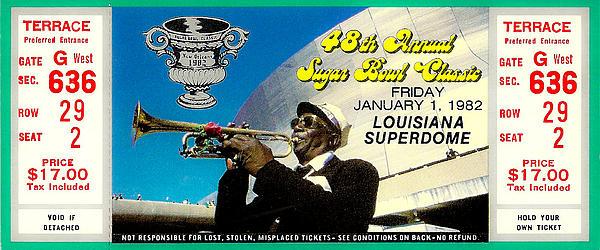 1982 Sugar Bowl Ticket Print by David Patterson