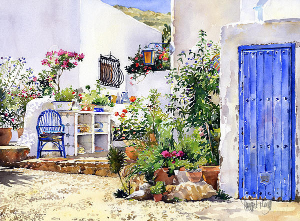 An Andalucian Patio Print by Margaret Merry