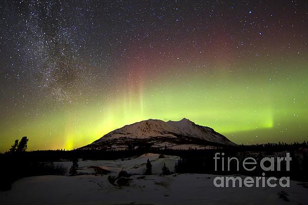 Aurora Borealis And Milky Way Print by Joseph Bradley