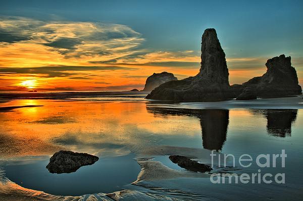 Bandon Beach Sunset Print by Adam Jewell