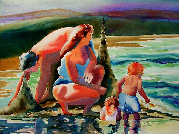 Beach Family Print by Julianne Felton