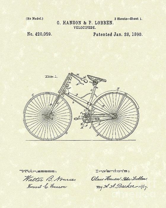 Bicycle 1890 Patent Art Print by Prior Art Design