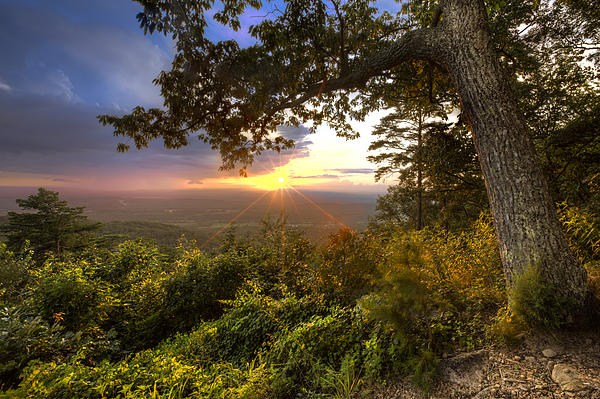 Blue Ridge Mountain Sunset Print by Debra and Dave Vanderlaan