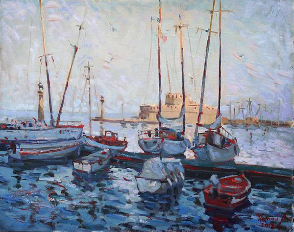 Boats In Rhodes Greece Print by Ylli Haruni