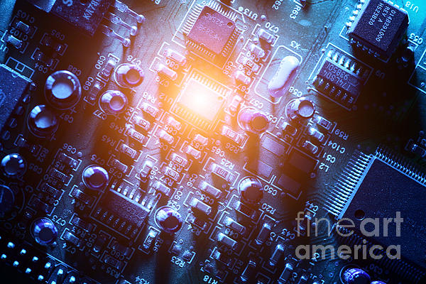 Circuit Board Abstract Print by Konstantin Sutyagin