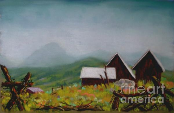 Crested Butte Barns Print by Judy Sprague
