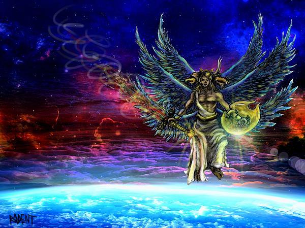 Descending Seraphim Print by Michael Schneider