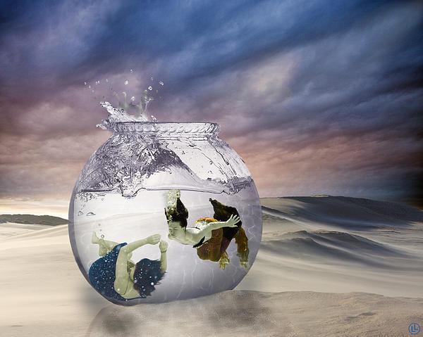 2 Lost Souls Living In A Fishbowl Print by Linda Lees