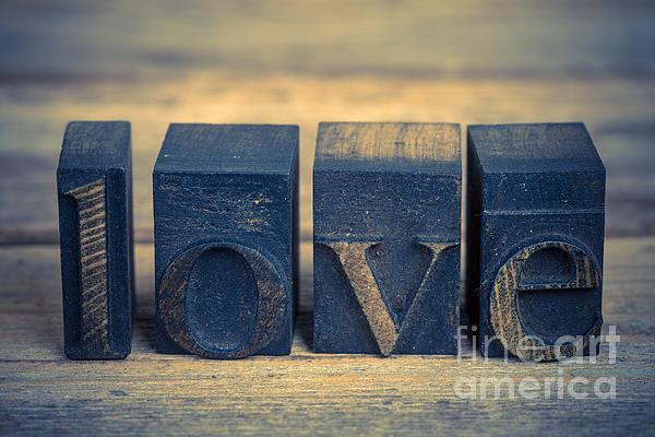 Love In Printing Blocks Print by Jane Rix