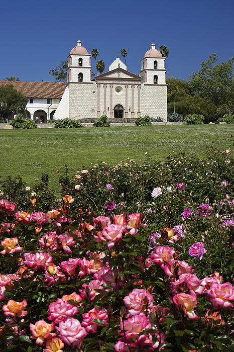 Mission Santa Barbara Print by Michele Burgess