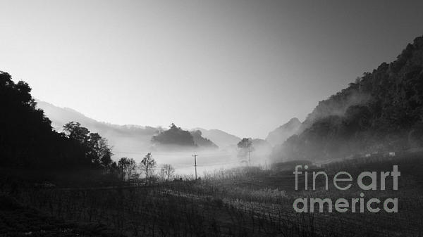 Mist In The Valley Print by Setsiri Silapasuwanchai