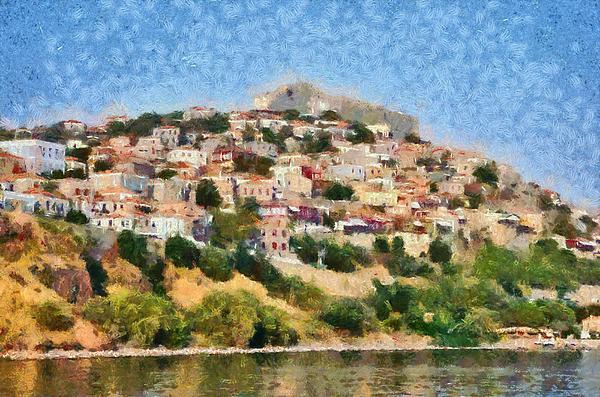 Molyvos Town In Lesvos Island Print by George Atsametakis